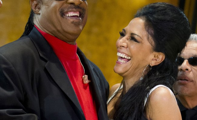 Stevie Wonder and Sheila E. appear onstage during the International Jazz Day Concert held at the UN