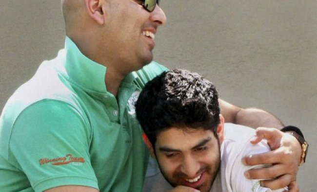 Cricketer Yuvraj Singh with his Younger brother Joravar Singh...