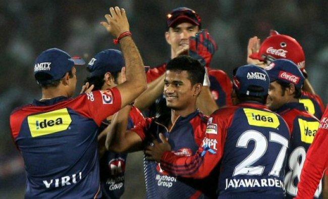 Delhi Daredevils Pawan Negi celebrate the dismissal...