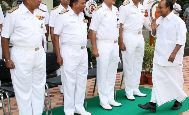Indian Defence Minister Shri AK Antony greets Naval commanders