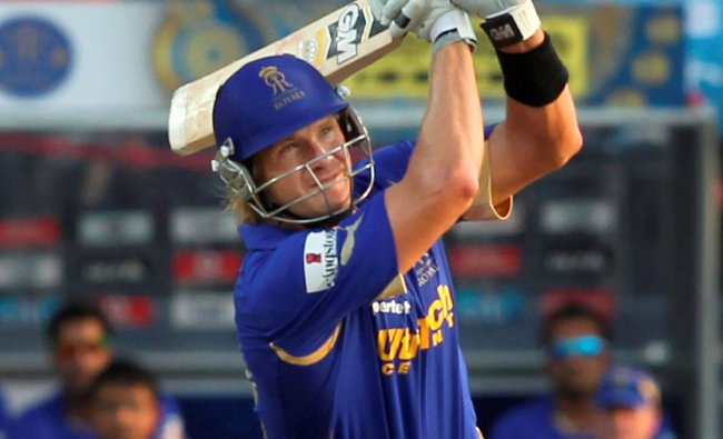 Rajasthan Royals\' Shane Watson in action against Pune Warriors