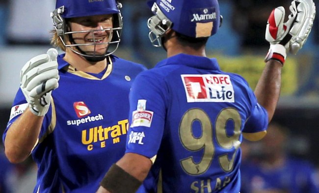 Rajasthan Royals\' Shane Watson and Owais Shah celebrate after their win over Team Pune