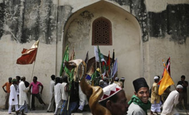 Indian Muslim Sufi devotees who are on a pilgrimage to Ajmer Sharif in Rajasthan...