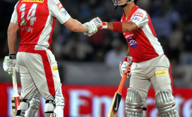 Kings XI Punjab\'s Shaun Marsh and Mandeep Singh during their IPL-5 match against Deccan Chargers