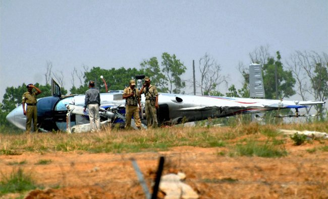 Rescue work in progress near the crashed Pawan Hans helicopter of Jharkhand CM in Ranchi