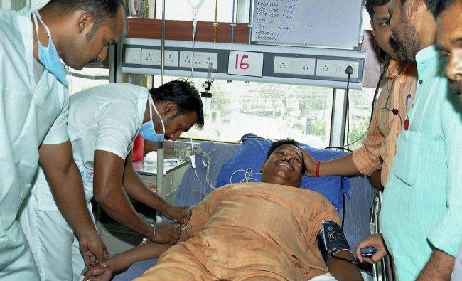 Injured Bharatiya Janata Party MLA Badd Kumar Gagrai being treated at a hospital in Ranchi
