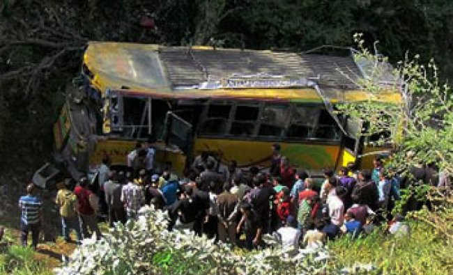 Bus accident at Gohar area in Mandi, Himachal Pradesh...