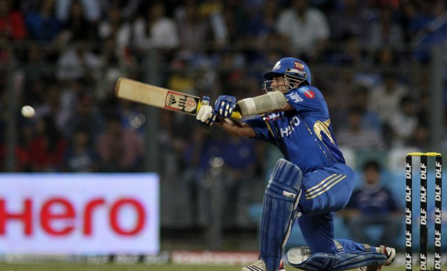 Mumbai Indians\' Sachin Tendulkar bats against Royal Challengers Banglore during an Indian Premier...