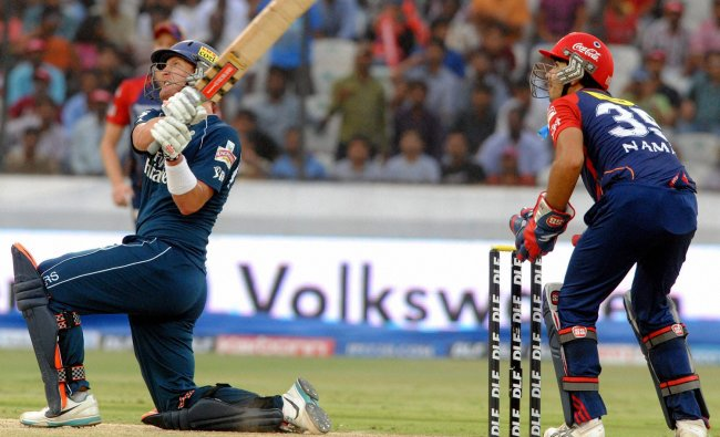 Deccan Chargers\' Cameron White plays a shot against Delhi Daredevils
