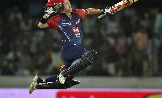 Delhi Daredevils\' David Warner celebrates his century during their Indian Premier League (IPL)...