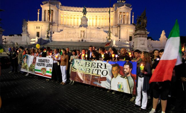 A torchlight procession in Rome to ask for the release of the Italian marines detained in India