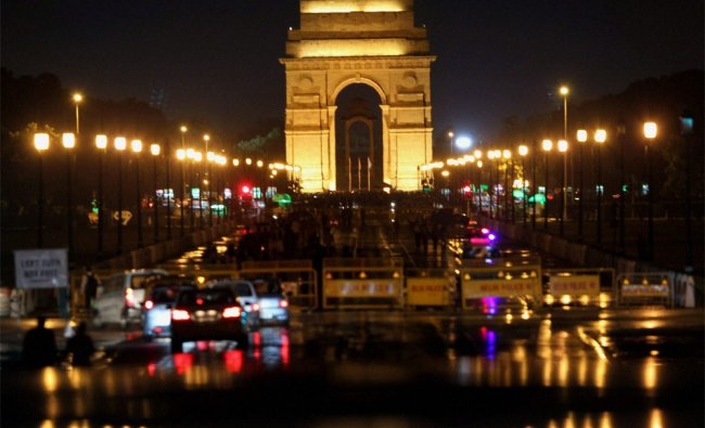 A view of illuminated Rajpath after heavy rains in New Delhi
