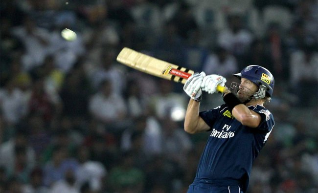 CL White plays a shot during the IPL-5 match against Kings XI Punjab in Mohali