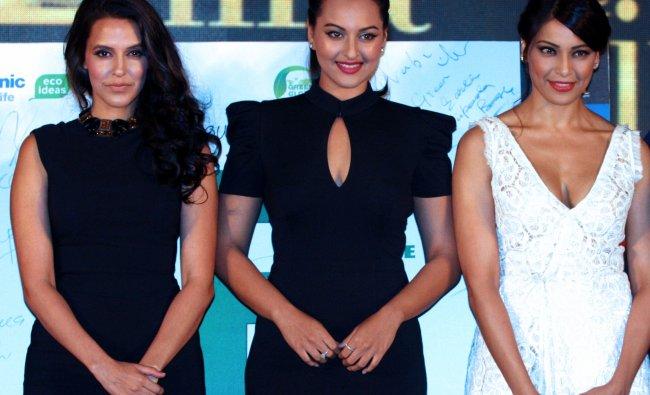 Bollywood actress Neha Dhupia, Sonakshi Sinha and Bipasha Basu attend the press conferece