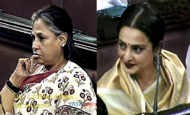 Bollywood actors and Rajya Sabha members Jaya Bachchan and Rekha