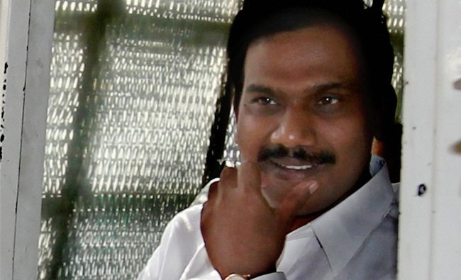 Former Telecom Minister A Raja leaves from Patiala House court in New Delhi