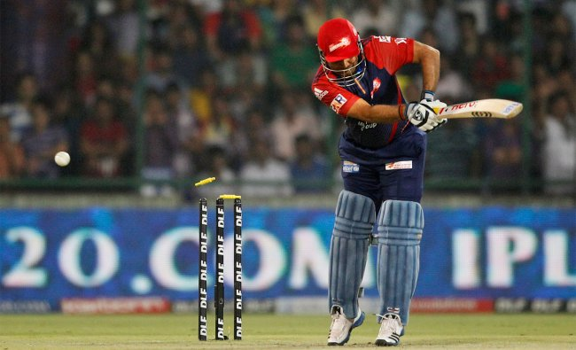 The bails fly off the wickets to dismiss Delhi Daredevils\' captain Virender Sehwag