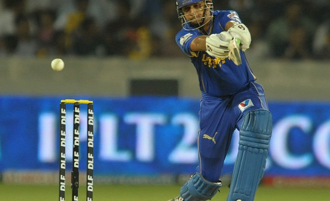 Rahul Dravid plays a shot during the IPL match between Deccan Chargers and Rajasthan Royals