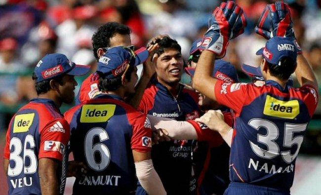 Umesh Yadav of Delhi Daredevils celebrates the dismissal...