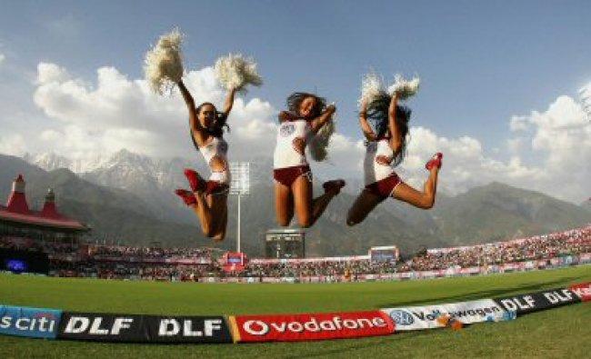 Cheerleaders perform during the IPL-5 match between Kings XI Punjab...