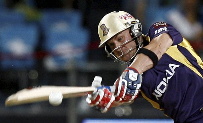KKR player B. McCullum plays a shot against Pune Warriors ...