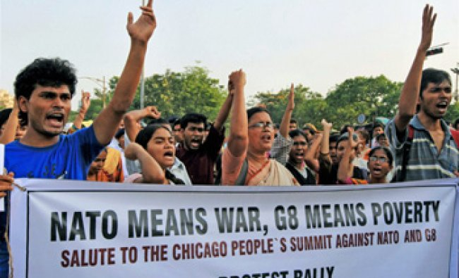 All-India Anti-imperialist Forum activists rally to protest against NATO & G8 Chicago Conference...