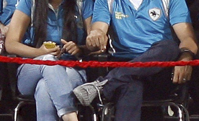 Bollywood actors Sonakshi Sinha and Akshay Kumar during their IPL-5 match in Pune ...