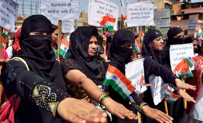 Muslim girls take oath during a rally to mark Anti Terrorism day in Jodhpur...