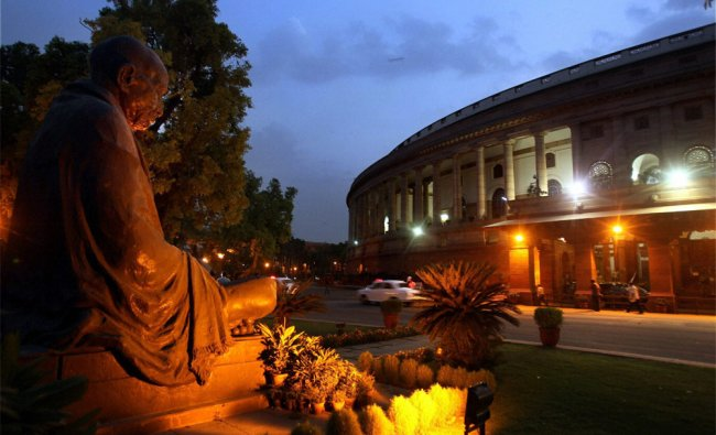 A view of Parliament in New Delhi on Monday evening...