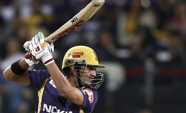 Gautam Gambhir plays a shot against Delhi Daredevils