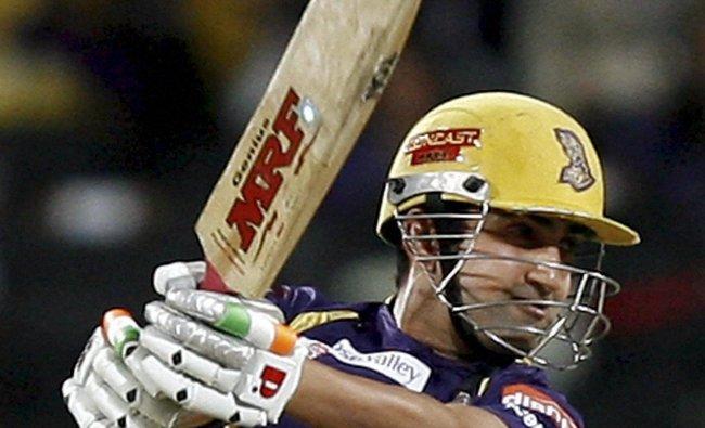 KKR player Gautam Gambhir plays a shot against Delhi Daredevils...