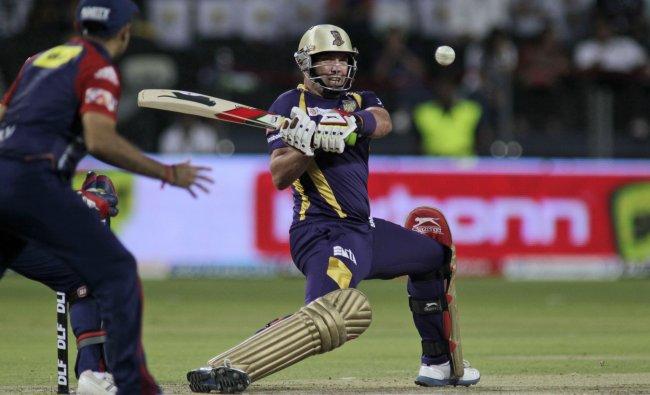 KKR player Jacques Kallis plays a shot during their Indian Premier League cricket playoff match...
