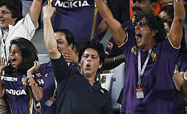 KKR co-owner Sharukh Khan Khan cheers his team during the IPL 5 playoff match against Delhi...