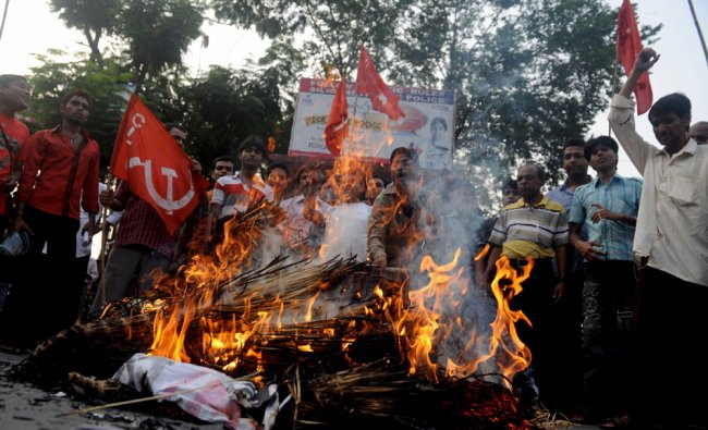 Communist activists in West Bengal protesting against petrol price hike...