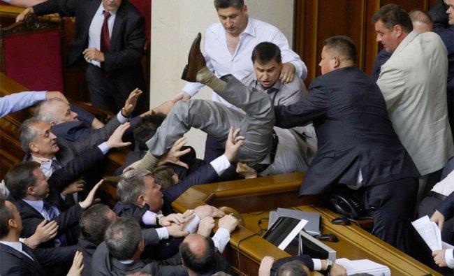 MPs clash in in the parliament session hall in Kiev, Ukraine