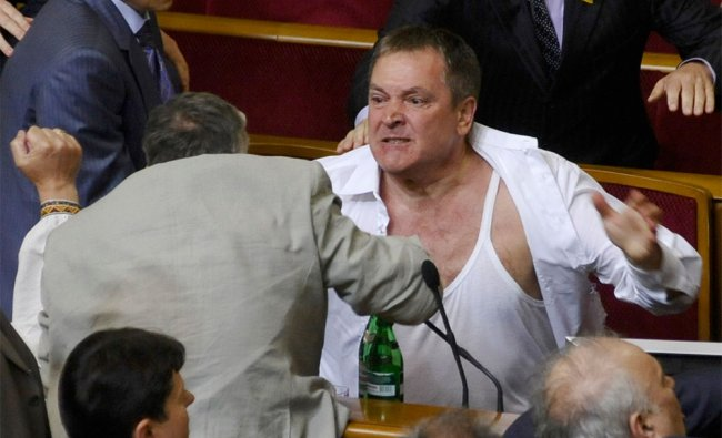 MPs clash in the parliament session hall in Kiev, Ukraine