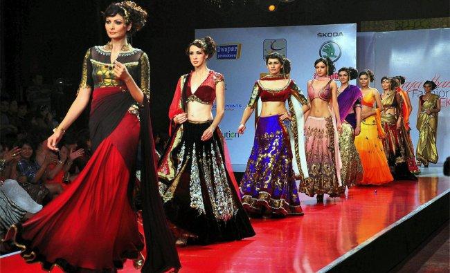Models walk the ramp during Rajasthan Fashion Week 2012 in Jaipur