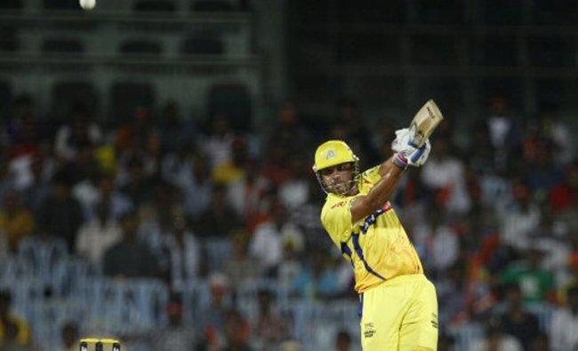 Chennai Super Kings\' batsman Murali Vijay plays a shot during their IPL playoff cricket match