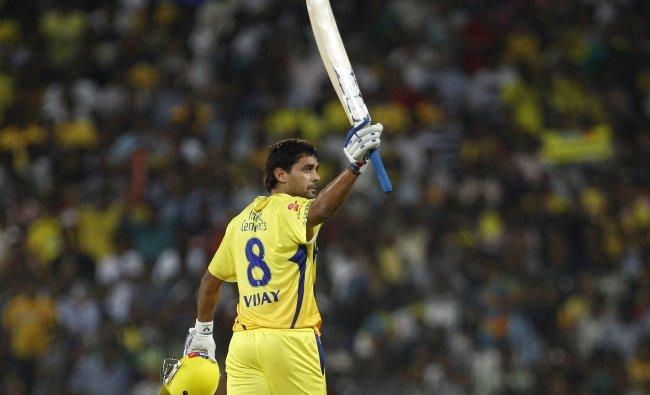Chennai Super Kings\' batsman Murali Vijay after scoring a century...