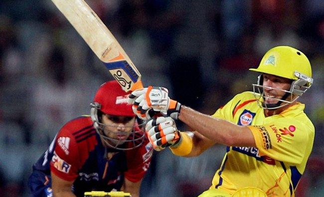 Chennai Super Kings\' Opener Michael Hussey bats against Delhi...