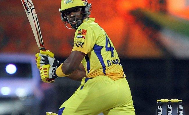 Chennai Super Kings\' D Bravo plays against Delhi ...