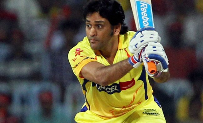 Chennai Super Kings\' M S Dhoni plays a shot during the IPL 5 playoff match...