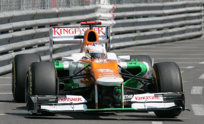 Force India\'s Scottish driver Paul di Resta drives during the third practice session