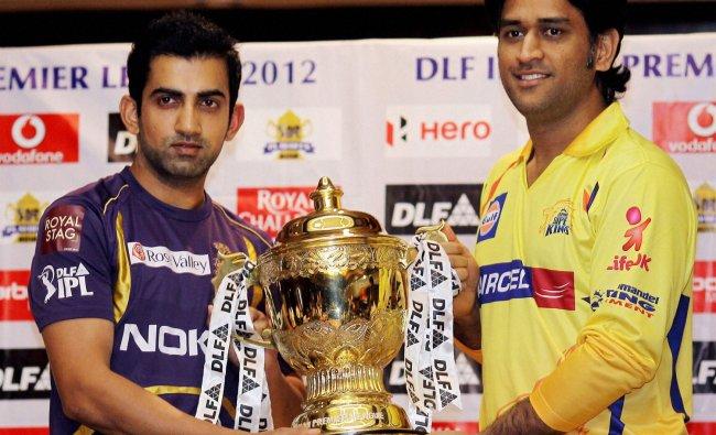 Skippers of Chennai Super Kings MS Dhoni and Kolkata Knight Riders Gautam Gambhir pose with the...