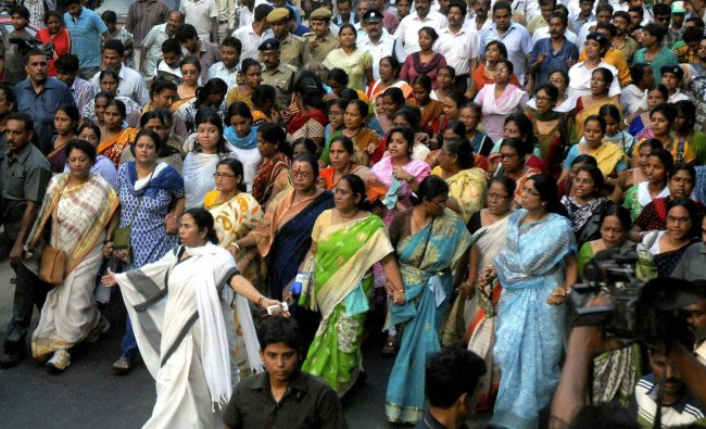 West Bengal Chief Minister Mamata Banerjee leads a protest against petrol price hike in Kolkata