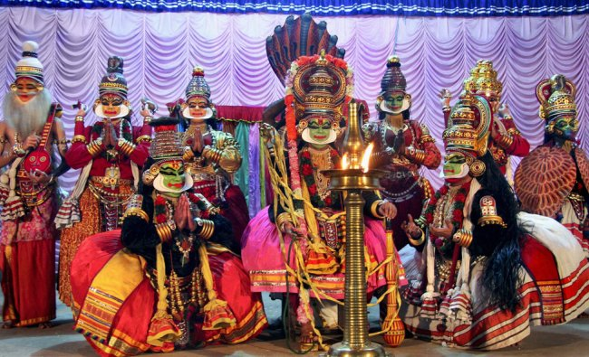 Kathakali artists perform Krishnanattam dance\' during Parthasarathy temple festival ...