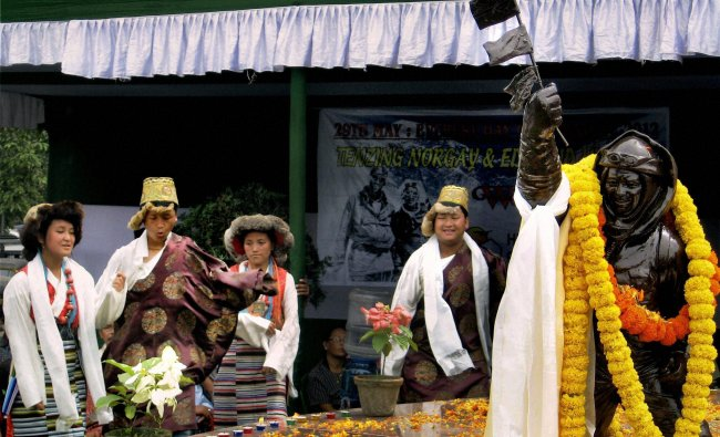 Lepcha community people garland the statue of Tenzing Norgay Sherpa...