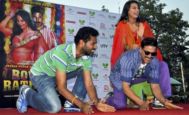 Akshay Kumar, Sonakshi Sinha and Prabhu Deva during an event to promote their film \'Rowdy Rathore\'