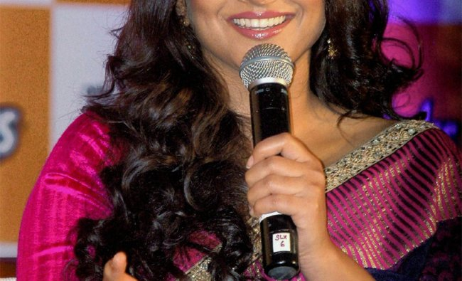 Vidya Balan at an art exhibition to promote a nutrition campaign in Kolkata on Tuesday