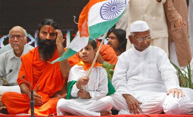 Anna Hazare and Ramdev during their daylong fast in New Delhi
